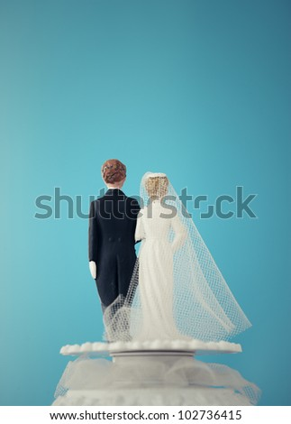 Vintage Wedding Cake Dolls - stock photo