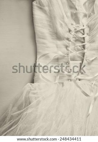Vintage wedding dress corset background. wedding concept. black and white photo - stock photo