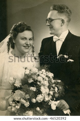 Vintage wedding photo (1948) - stock photo