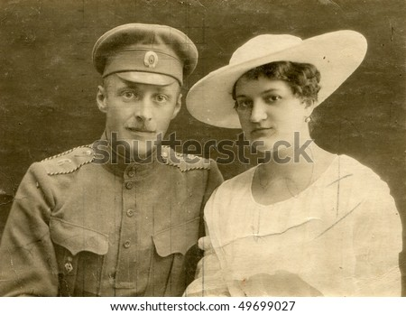 Vintage wedding photo (during First World War) - stock photo