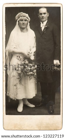 vintage wedding photo. just married couple circa 1920. nostalgic picture - stock photo