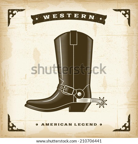 Vintage Western Cowboy Boot - stock photo