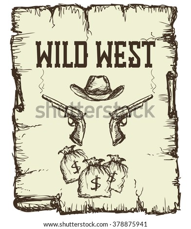 Vintage western  poster - stock photo