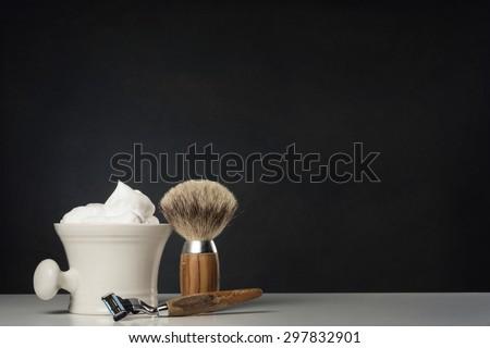 vintage wet Shaving Equipment on white Table - stock photo