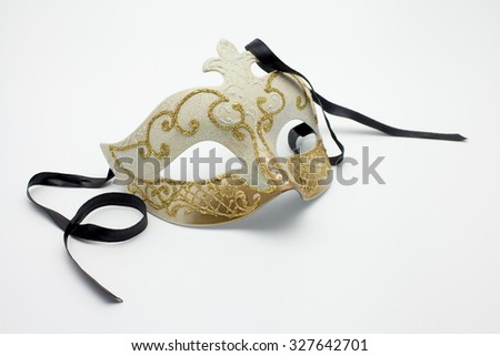 Vintage white and gold carnival Mask - stock photo