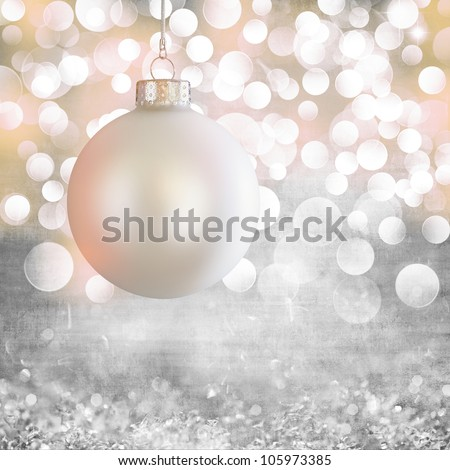 Vintage White Christmas Ball Ornament Over Elegant Grunge Grey, Purple, Pink & Gold Christmas Light Bokeh & Crystal Background - stock photo