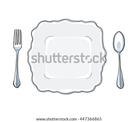 vintage white dish plate fork and spoon hand drawn art cute illustration - stock photo