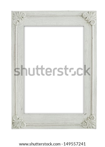 vintage white frame isolate on white background - stock photo