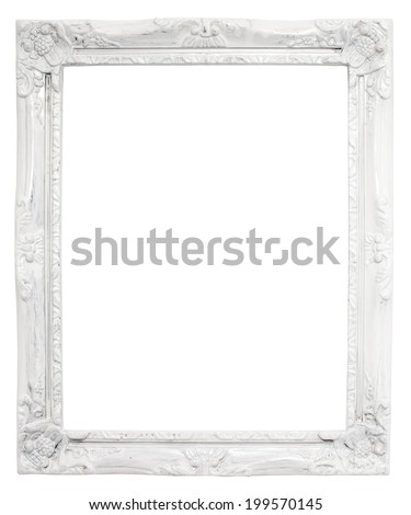 Vintage white frame with blank space, with clipping path. - stock photo