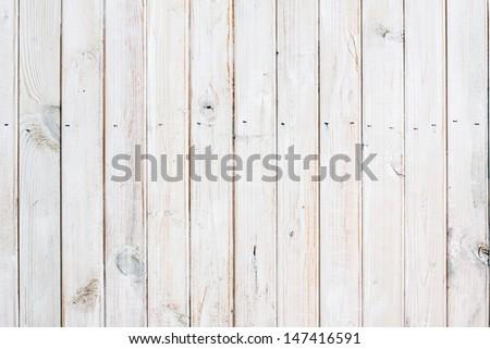 Vintage white wood planks background - stock photo