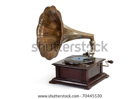 Vintage wind-up gramophone record player - stock photo