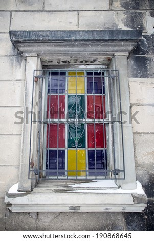 vintage window with Stained-glass - stock photo