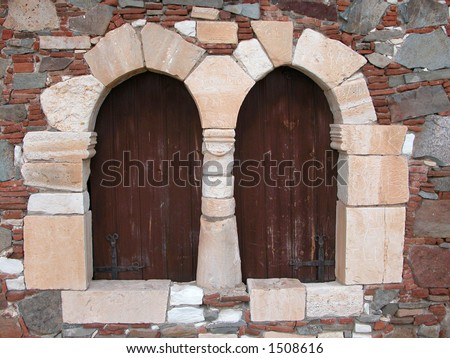 Vintage windows from beautifull Cyprus. Windows are found at the village of Fikardou in Cyprus. - stock photo