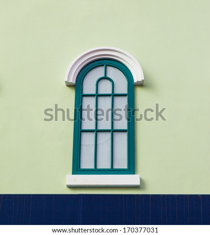 Vintage windows on Green wall