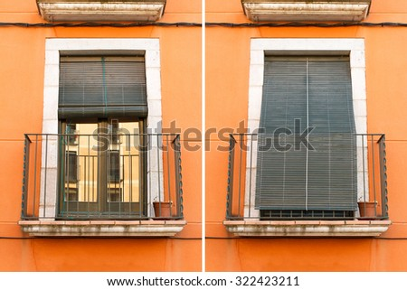 Vintage windows with shutters closed and opened outdoors. Protection against sun and heat  - stock photo