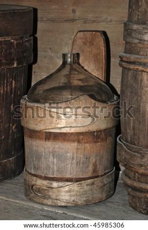 Vintage wine barrel at old village house - stock photo