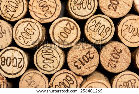 Vintage wine corks with years date background