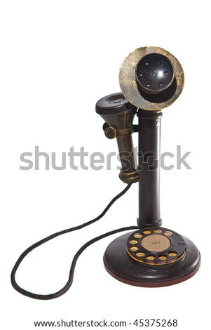 Vintage wired telephone. Isolated on white. - stock photo
