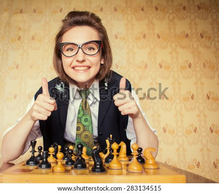 vintage woman - stock photo