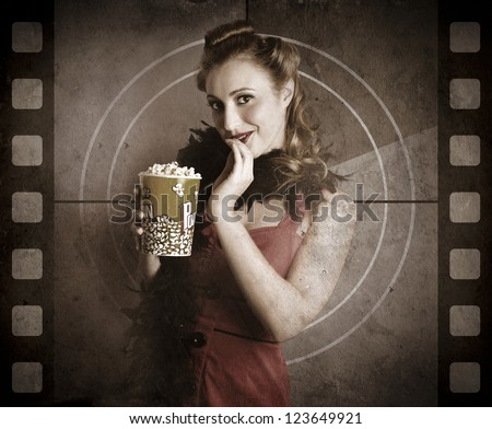 Vintage Woman Eating Popcorn On A Old Cinema Movie Countdown Screen In A Depiction Of A Classic Film - stock photo