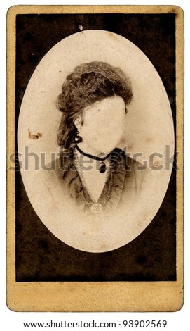 vintage woman portrait without a face - stock photo