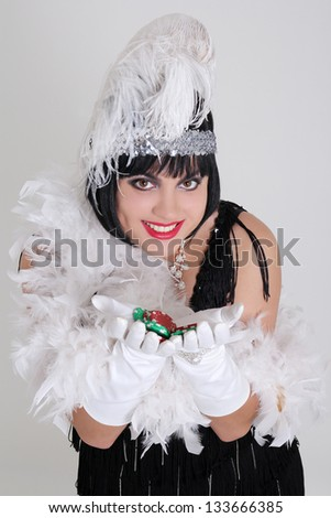 vintage woman with casino chips over grey