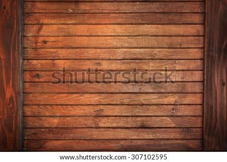 vintage wood background texture dark frame border design - stock photo