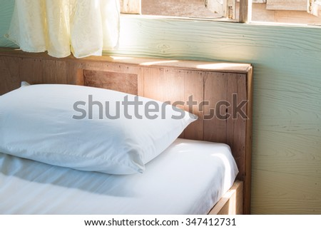 vintage wood bed - stock photo