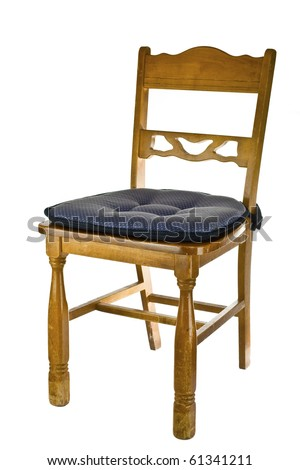 Vintage wood chair with pad isolated on white - stock photo