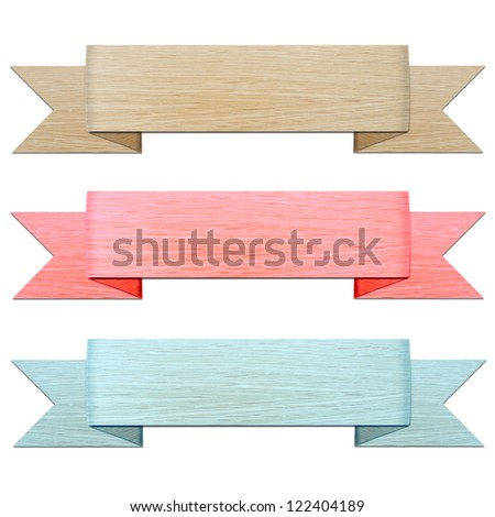 vintage wood header and banner collection isolated on white background - stock photo
