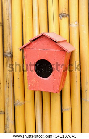 Vintage wood little of birdhouse  by handicrafts rural area. - stock photo
