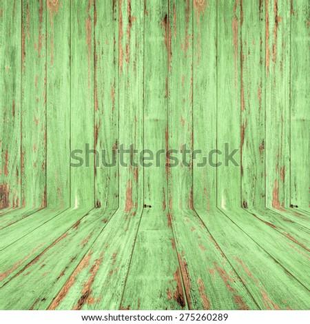 Vintage wood room with peeling paint. - stock photo