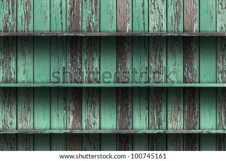 vintage wood shelf. grunge industrial interior Uneven diffuse lighting version. Design component - stock photo