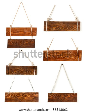 Vintage wood sign boards collection isolated on white - stock photo