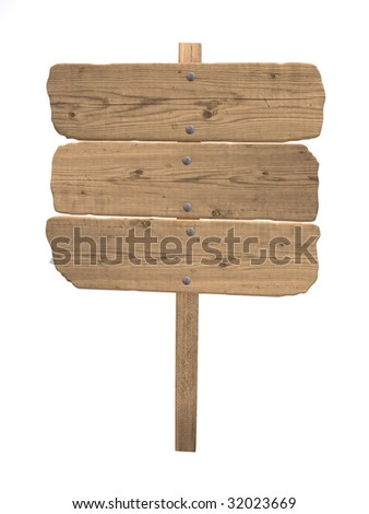 Vintage wood sign isolated over white - stock photo