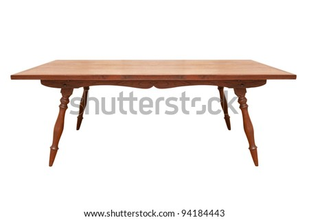 vintage wood table isolated on white - stock photo