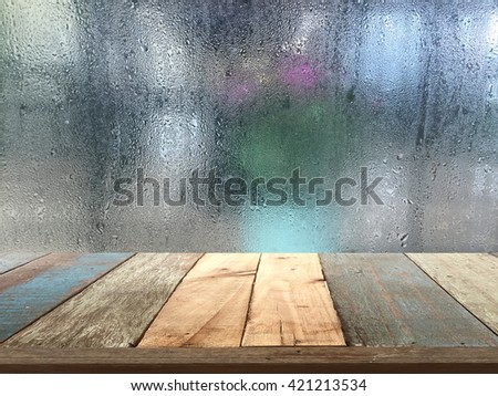 Genial Vintage Wood Table Top With Rain Drops On Glass Background   Can Be Used  For Display
