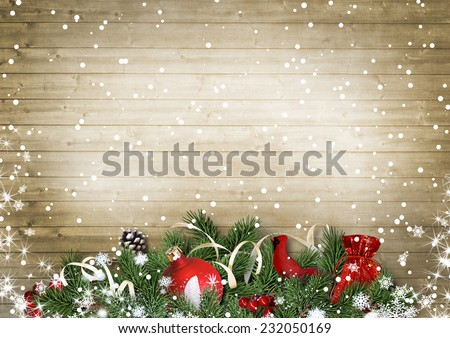 Vintage wood texture with snow, holly,firtree, cardinal.Christma - stock photo