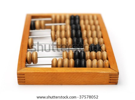 Vintage wooden Abacus isolated on a white - stock photo