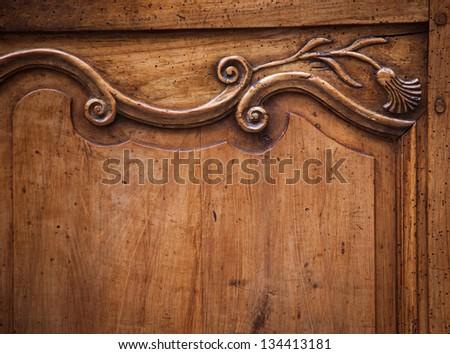 Vintage wooden background. Art nouveau style. - stock photo