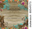 Vintage Wooden Background with frames and flowers - stock photo