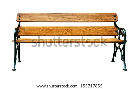 vintage wooden bench isolated on white background - stock photo