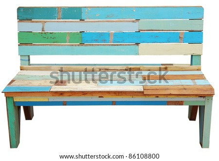 Vintage wooden bench isolated over white background