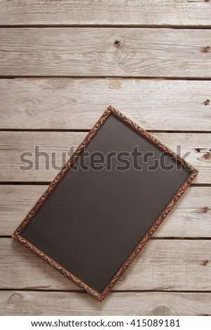 Vintage wooden board for recipes, black. Flat Lay. Top view. - stock photo
