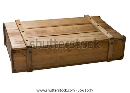 Vintage wooden box closed and isolated against a white background.
