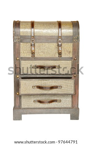 Vintage wooden box isolated - stock photo