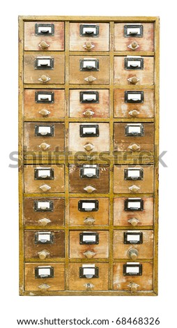 Vintage wooden cabinet with drawers isolated on white