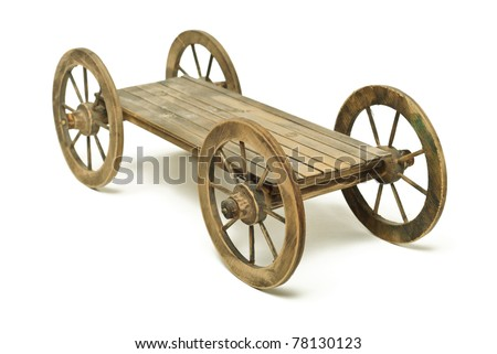 Vintage wooden cart isolated on white - stock photo