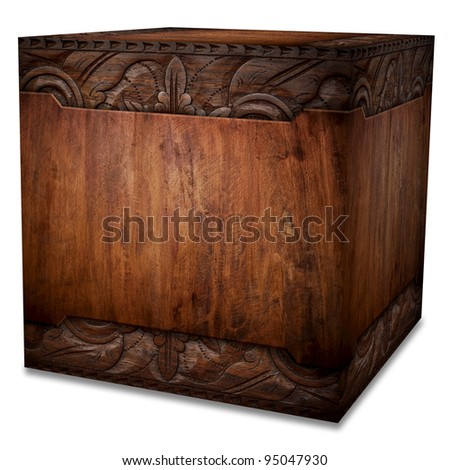 vintage wooden case (isolated with clipping path)