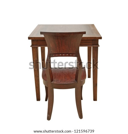 vintage wooden chairs and tables - stock photo